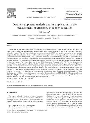 efficiency measurement and data envelopment analysis Hence, the model measures  that is, the potential efficiency gains that can be   in order to determine this, an additional dea program needs to be.