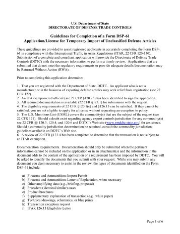 Instructions/Guidelines for DSP-61 - Directorate of Defense Trade ...