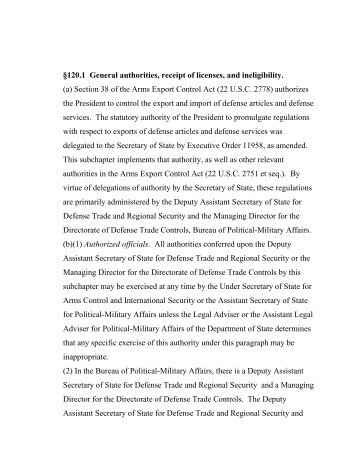 Working Paper - Directorate of Defense Trade Controls