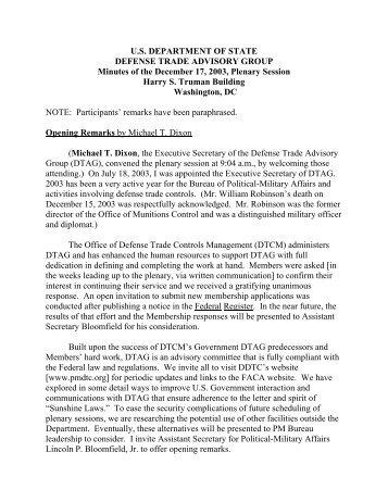 Minutes - Directorate of Defense Trade Controls - US Department of ...
