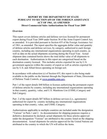 2009 Section 655 Report - Directorate of Defense Trade Controls