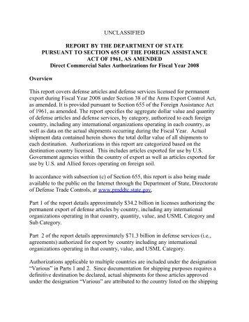 655 report - Directorate of Defense Trade Controls