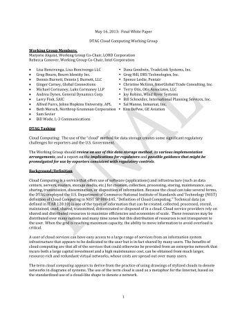 Cloud Computing - Directorate of Defense Trade Controls