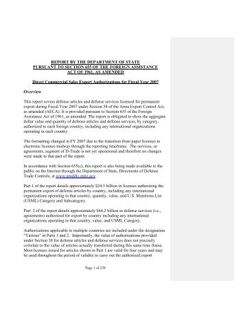 2007 Section 655 Report - Directorate of Defense Trade Controls