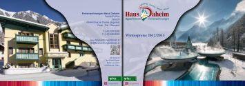 Winterpreise 2012/2013 - Haus Daheim Gries Längenfeld