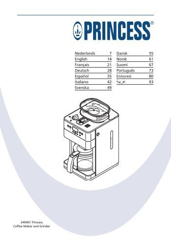 Handleiding Princess Coffee Maker And Grinder : Bedienungsanleitung EZetil Compressor Cooler and Freezer