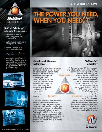Alternator Datasheet - Fallbrook Technologies Inc.