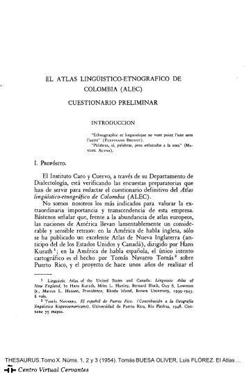 El Atlas Lingüístico-Etnográfico de Colombia (ALEC). Cuestionario ...