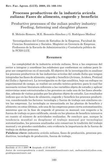 Procesos productivos de la industria avícola zuliana - Revista de la ...