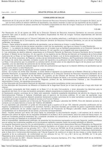 Relación definitiva de aprobados y plazas vacantes a ... - Rioja Salud
