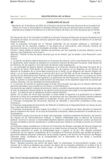 Resolución de Aprobados y Plazas Vacantes - Rioja Salud