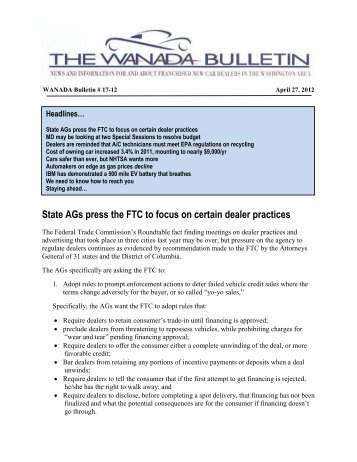 State AGs press the FTC to focus on certain dealer practices