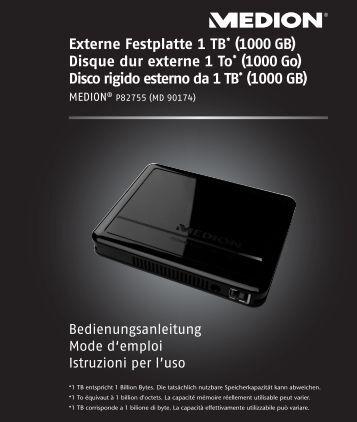 Externe Festplatte 1 TB* (1000 GB) Disque dur externe 1 ... - Medion