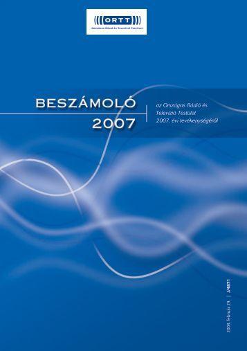 Országgyűlési beszámoló az ORTT 2007. évi tevékenységéről
