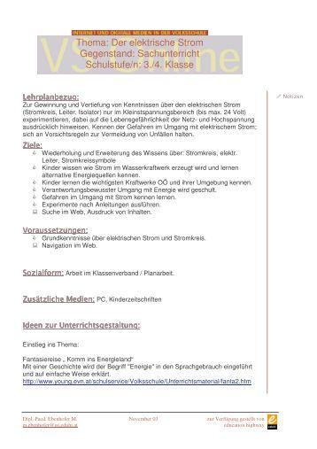 Thema: Das Fahrrad Gegenstand: Sachunterricht Schulstufe/n ...