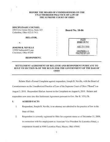 Disciplinary Counsel v. Joseph B. Neville, Case No. UPL 10-06