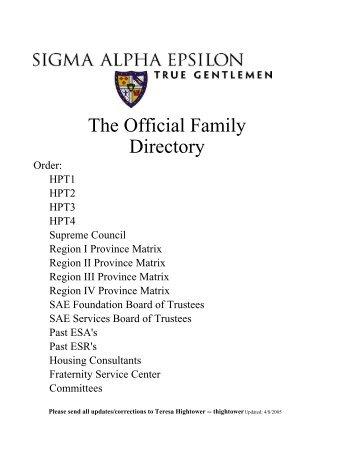 Official Family Directory - SD Theta Alumni Association of SAE