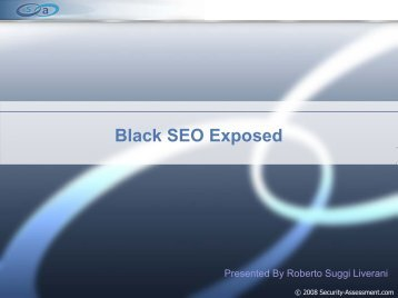 Black SEO Exposed - Security Assessment