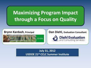 Maximizing Program Impact through a Focus on Quality