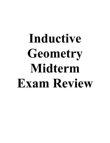 Geometry First Semester Final Exam Review