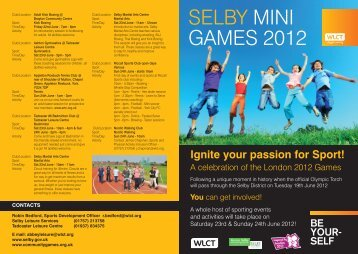 Selby Mini Games Celebration weekend - pdf - Selby District Council