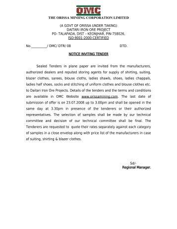 daitari iron ore project po- talapada, dist – keonjhar - Orissa Mining ...