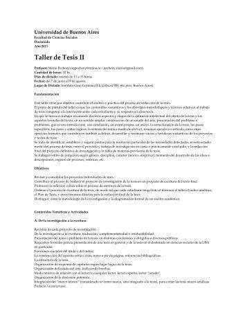 Taller de Tesis II - Facultad de Ciencias Sociales - Universidad de ...