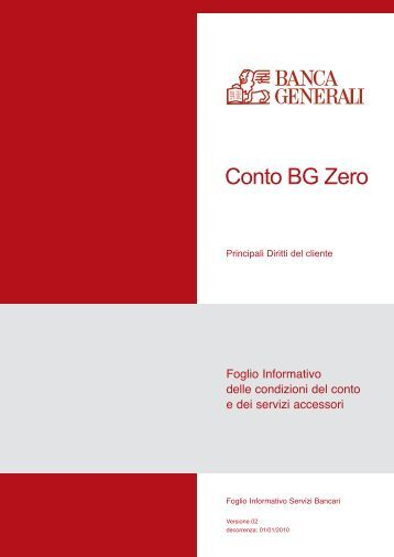 Prospetto informativo Banca Generali Conto BG Zero - Sos Tariffe