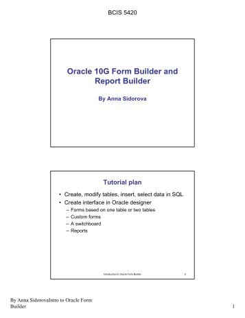 Oracle 10G Form Builder and Report Builder