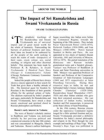 influence and legacy of swami vivekananda Easily share your publications and get them in front of issuu's  introducing the book : vivekananda--his  swami vivekananda's influence on.