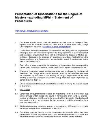 Dissertation for masters degree