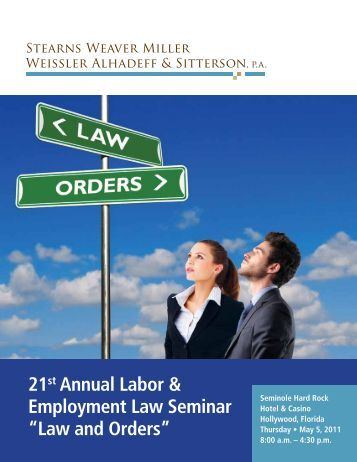 employment law seminar The mission of the iowa employment conference is to deliver the source for employment, training developments in labor and employment law.