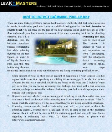 Why thornton consulting Swimming pool leak detection and repair