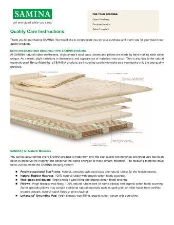 SAMINA - Quality Care Instructions