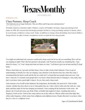 Texas Monthly - Claus Pummer, Sleep Coach
