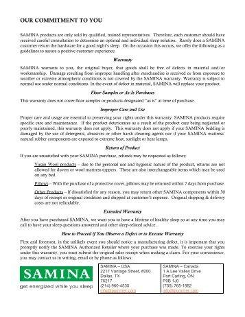 Warranty - SAMINA Commitment to You