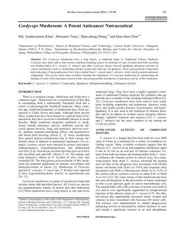 Cordyceps Mushroom: A Potent Anticancer Nutraceutical