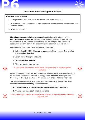 25 1 the electromagnetic spectrum worksheet answers