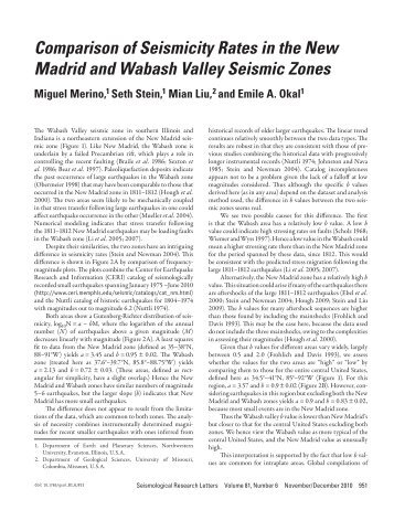 comparison of seismicity rates in the new Madrid and wabash Valley ...
