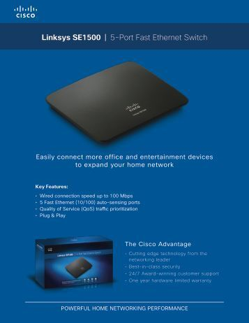 Linksys SE1500 | 5-Port Fast Ethernet Switch - Standard Bank UCount