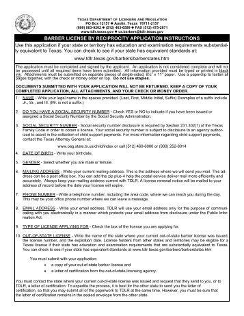 reciprocity barber license application - Texas Department of ...