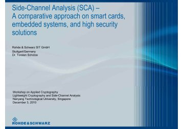 Side-Channel Analysis (SCA) – A comparative approach on smart ...