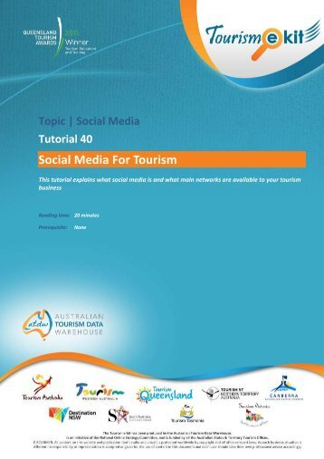 Tutorial 40 - Social Media For Tourism