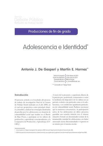 Adolescencia e Identidad* - Carrera de Trabajo Social