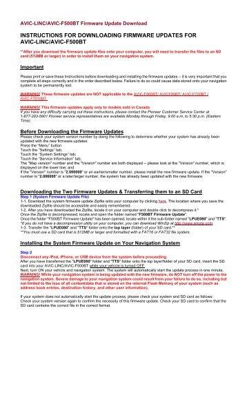AVIC-LINC Firmware Update Instructions - Pioneer