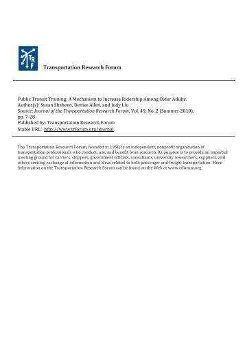Public Transit Training: A Mechanism to Increase Ridership Among ...