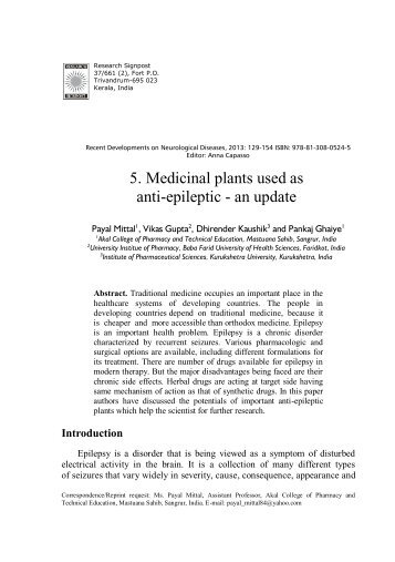 5. Medicinal plants used as anti-epileptic - an update
