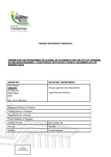 tender reference cb209/2012 tender for the appointment of a panel ...