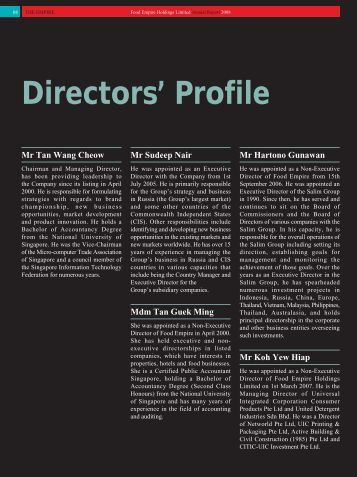 Directors' Profile - Food Empire Holdings Limited