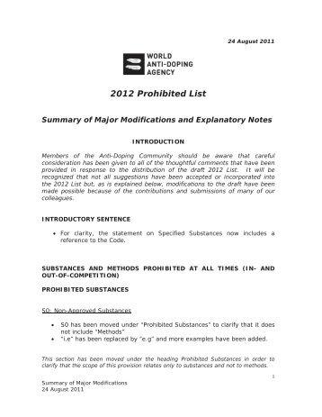 2012 Prohibited List - FEI